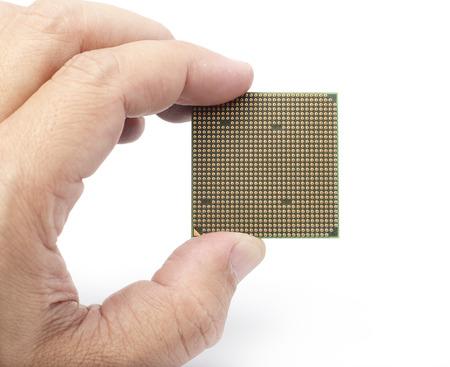 computer cpu: Holding Computer CPU Microprocessor in White background
