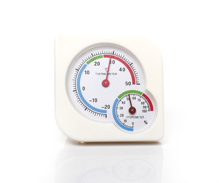 humid: White Temperature Thermometer in White background