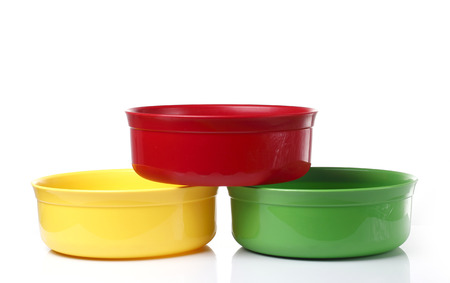 washbowl: Colorful Plastic bowl in White background