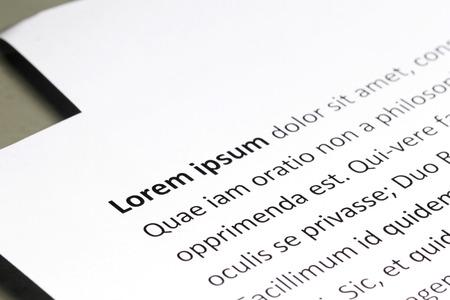 Lorem Ipsum text on White paper