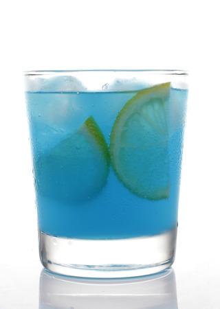 slide glass: Blue Punch in Glass with Lemon slide on White background