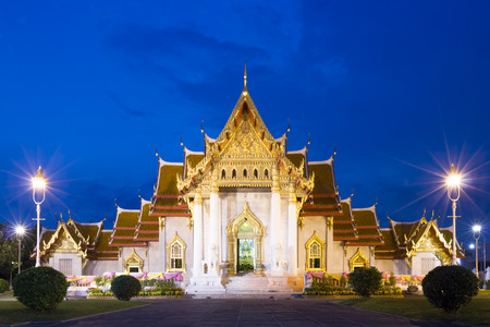famous place: Marble Temple The Famous Place of Bangkok in Twilight Evening