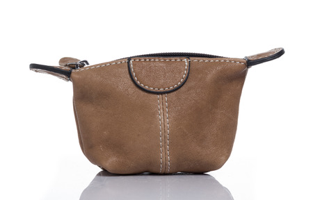 coin purse: Brown Coin Purse White background