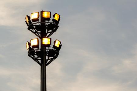 safty: Flood Light Tower in Evening sky Stock Photo