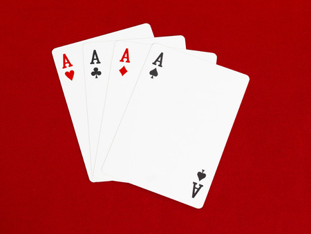 aces: Four Aces Card Red Background