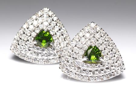 green gemstone: Green Gemstone with Diamond earring