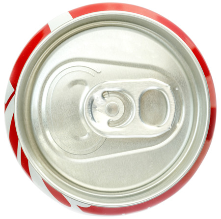 Soda Can Top view on White background Banque d'images