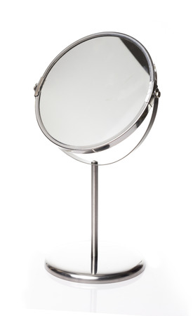 Stand Magnify Mirror White background Banque d'images