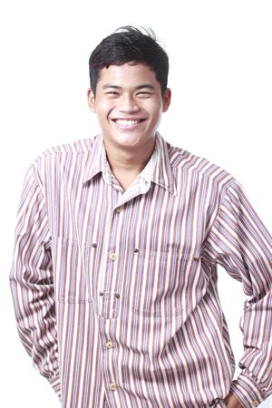 Asian man smiling face portrait standing on White background