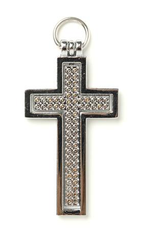 medaglione: Acciaio Croce medaglione su sfondo bianco Archivio Fotografico