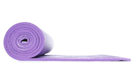 Violet Yoga Mat on White background Banco de Imagens