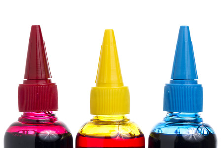 ink bottle: Printer Ink bottle on White background Red, Yellow, Blue