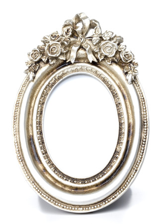 oval shape: Metalic Oval Shape picture frame in White background