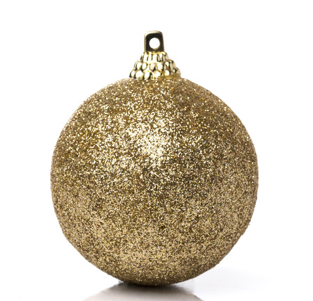 Gold Christmas ball on White background Banque d'images