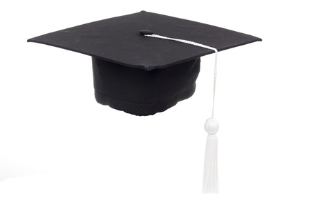 Black Graduation Cap in White background Stock Photo