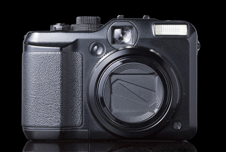 point and shoot: Black Point Shoot Camera on Black background Front View