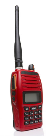 transceiver: Red radio transceiver in White background Stock Photo