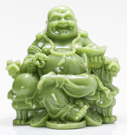 feng: Laughing Green Fat Buddha Feng Shui in White background Stock Photo