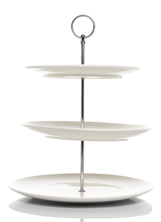tiers: White dish serving stand 3 tiers in White background