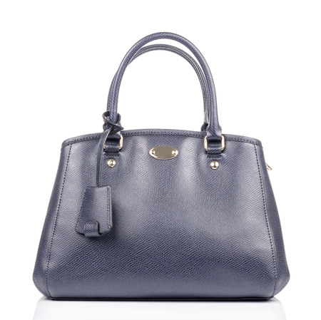 leather: Blue leather Hand bag in White background