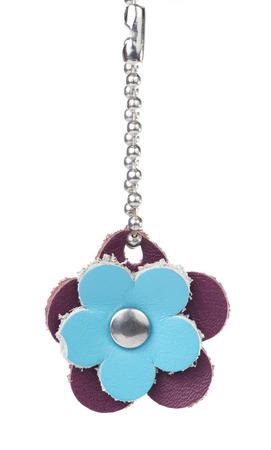 key ring: Leather Flower Shape Key Ring on White background