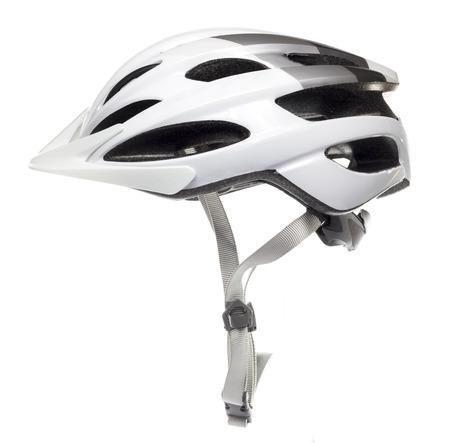 White fietshelm in witte achtergrond Stockfoto