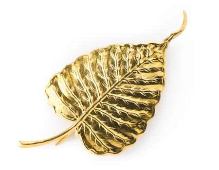 白い背景の上の黄金の菩提葉 写真素材