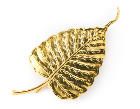 Golden Bodhi Leaf on White background