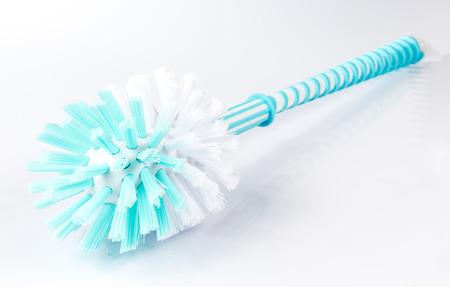 toilet brush: Blue Toilet Brush on White background