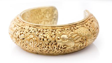 bangle: Carve Golden Bangle in White background