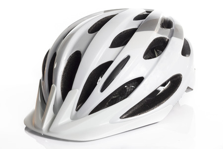 sport object: White Bicycle Helmet in White background