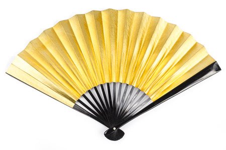 paper fan: Gold Paper Fan on White background