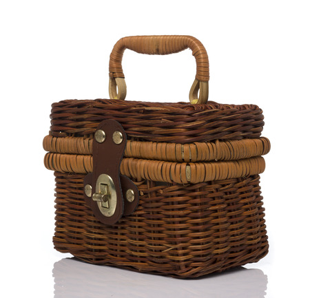 hand bag: Brown Rattan Hand bag on White background Stock Photo