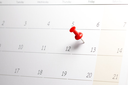 Red Pushpin on Friday 13th Calendar