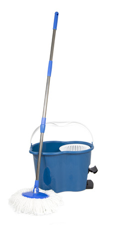 sanitize: Spin Bucket with Mop on White background Stock Photo