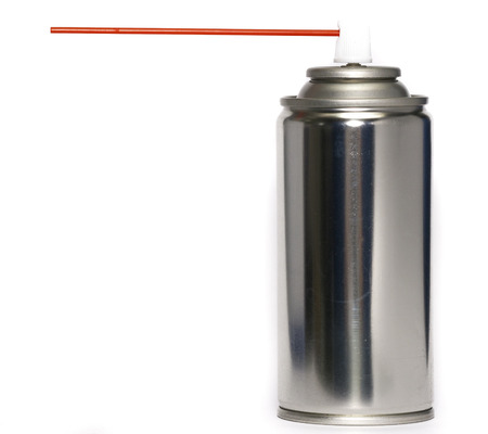 red tube: Spray Can with Red Tube on White background Stock Photo