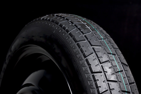 tyre tread: Black Tyre Rubber in Black background