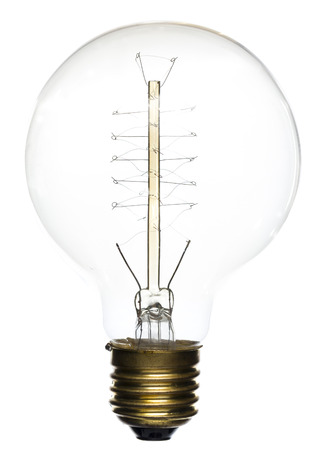 on a white background: Old Style Vintage Lightbulb on White background Stock Photo