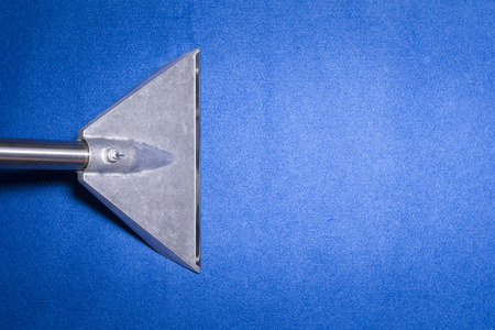 cleaner: Head of carpet extraction cleaner on Blue carpet from top view