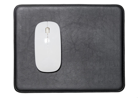 mousepad: White Wireless Mouse on Black Leather Pads with White background