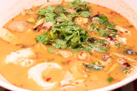 favorite soup: Hot Sour seafood soup Closeup shot
