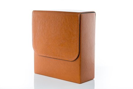 pouch: vintage brown leather pouch on White background