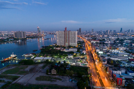 BANGKOK, THAILAND - APRIL 19, 2017 : In the morning at Rama 3 Rd. of Bangkok, Thailand