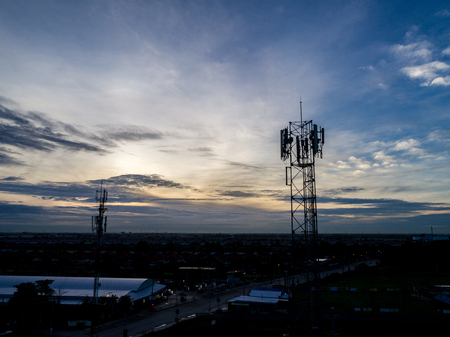 Cell Phone Cellular tower in Morning Light with Blue Sky Drone Photography
