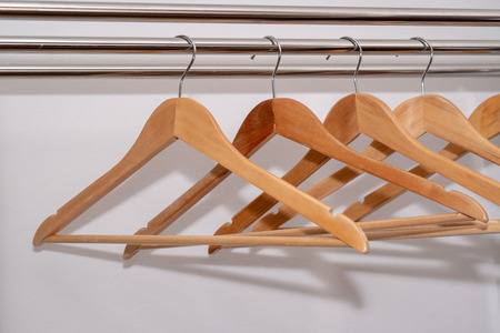 Wooden Coat hangers hook in wardrobe 스톡 콘텐츠 - 101121232