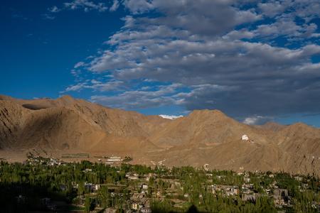 Leh Town View from Shanti Stupa, Ladakh, Jammu and Kashmir, India