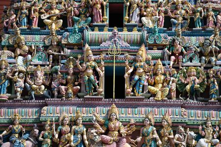 Stucco of Sri Veeramakaliamman Hindu Temple of Singapore Banque d'images