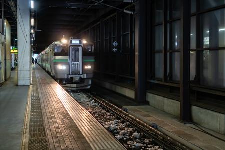 Sapporo, Japan - Jan 28, 2019 : Local Train of Hakodate Line parking at platform of Sapporo Train Station of Hokkaido, Japan Zdjęcie Seryjne - 122542124