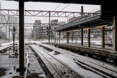 Sapporo, Japan - Jan 28, 2019 : Local Train of Hakodate Line of Sapporo Train Station of Hokkaido, Japan