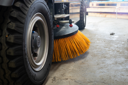 Closeup at Nylon brush of the Road sweeper